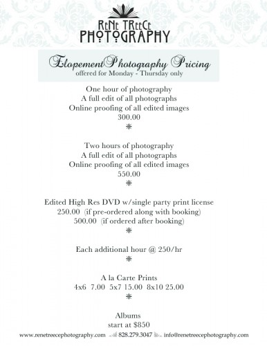 elopement pricing